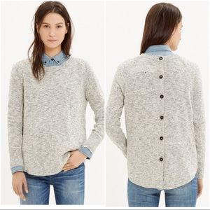 Madewell Gray Marled Button Back Sweater Sz S